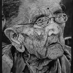 Old Woman painting with Charcoal Art