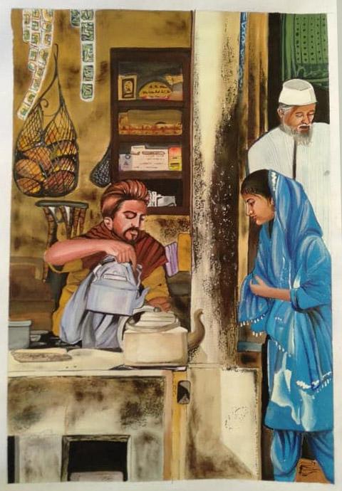 Beautiful Painting on chai Wala at Lalit kala Academy