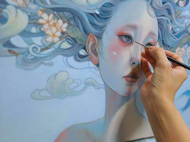 Student doing Painting at Lalit Kala Academy